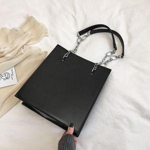 Burminsa Korean Style Rectangle Chain Shoulder Bags For Women Large Capacity Bucket Handbags High Quality PU Leather Tote Bags