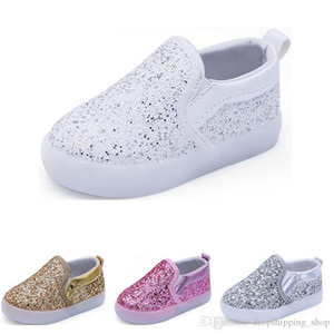2019 New Kids shoes running shoes black gold silver white 2019 boys girls Cute Athletic sport sneaker size 21-30