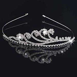 Handmade Cute Silver Wedding Bridal Crystal Crown Tiaras Nice Gift Flower Girl 11.7*3CM H0016