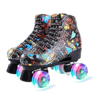 2020 New Graffiti Print Artificial Lether Roller Skates PU Flash 4-Wheel For Adult Woman Kids Outdoor Patines Sports Shoes