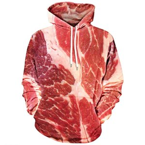 Funny Beef Meat 3d Hoodies Sweatshirt Funny Simulation Bacon Pullover Plus Size Clothing Tracksuit Outwear Top Sudadera Mujer