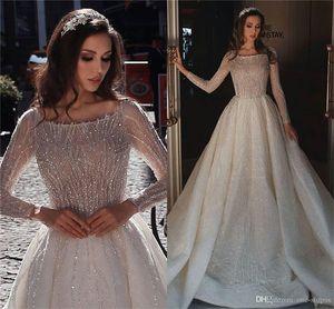 Sparkly Seuquée Bateau A-Line Manches longues Robe de mariée Luxe Vintage Saudi Arabe Saoudien Dubaï Plus Szie Princess Robe de mariée