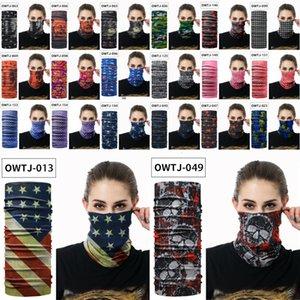 Envio DHL DHL Garçons Máscara Facial EUA Bandeira Imprimir Headband Skull Seamless Bandana Cachecol Tubo Máscara Headwear Motocicleta Máscaras Cara X399FZ