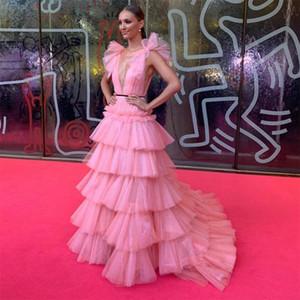 2020 Red Carpet Fashion Evening Dresses A Line Deep V Neck Sexy vestido de novia Tiered Skirts Formal Prom Gowns