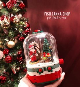 *Fish store * Santa Claus snowhouse revolving light street view mosaic building block toy ornament
