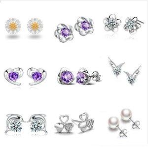 925 серебряные серьги натуральный кристалл снежинки сердца ангела клевер ухо SUTD серьги с CZ алмазные украшения для женщин смешать стили