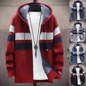 Winter Warm Jacket Men Trench Coat Casual Coat Knitted Hooded Cardigan Zip Plush Color Block Autumn Winter Men Long Sleeve