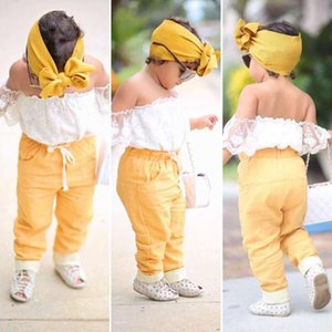 Girl Baby Clothing Toddler Sets Summer Girls Off Shoulder White Shirt+Short Sleeve +Yellow Pants+Headband Kids 3 PCS Suits