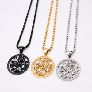 Best seller Gold  black Stainless Steel Religious geometric pentagram Wicca Pendant Rolo chain necklace 18-30 inch1