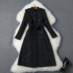 2019 Fall Autumn White   Black Long Sleeve Stand Collar Tweed Beads Belted Single-Breasted Long Outwear Coat Casual Fashion Coats O06T10192