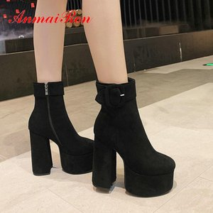 Anmairon 2020 Stivaletti della caviglia per le donne Stivali piattaforma quadrata quadrata taglia 34-43 scarpe da donna rotonda scarpe da donna corta peluche