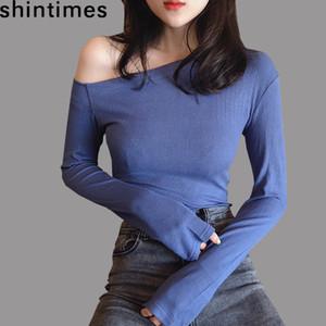 shintimes à l'épaule T-shirt pour femmes T-shirt à manches longues Femme Sexy Mode Femme Vêtements Vetissement Femme Y200110