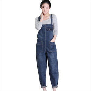 Denim Rompers Women 2020 Spring Summer Plus size 6XL Casual Bib Pants Female Jumpsuits Jeans Trousers Strap can be adjusted H675