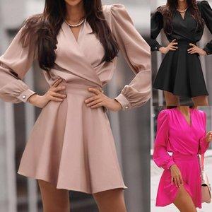 Sıcak Stil Elbise Yeni Fonu 2020 Sonbahar Kış Vogue Ince Bel Elbise Kadın Göster