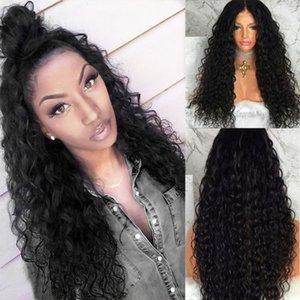 Натуральный глядя 26 дюймов вьющиеся вьющиеся парик без глееного синтетического кружева с младенцем для волос термостойкие качественные парики для черных женщин