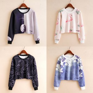 QRWR 2020 Sweatshirt Autumn New Fashion Printing O Neck Long Sleeve Hoodies Casual Cropped Women Sweatshirts Z1214