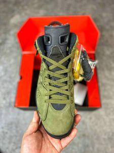 Nuevo Travis Scott X 6 Cactus Jack Medio Dark Ejército Verde Green High Quality Shoes Mens Womens Trainers Deportes Zapatillas deportivas