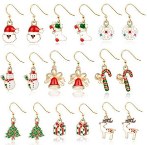 Christmas Earrings Xmas Ear Hook Gifts Christmas Tree Deer Santa Claus Shaped Earring Women Designer Jewelry Christmas Decoration DHC4081