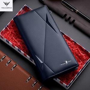 Williampolo New Leather Wallet Men's Long Multifuncional Clip Multifuncional Cremallera Hebilla Pure Cowhide Mano Bolso Monedero Pocket Cash Q1220