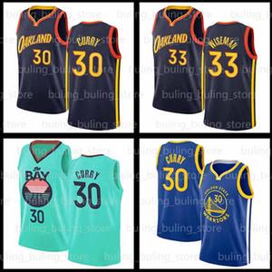 Stephen 30 Curry Jersey James 33 Wiseman 2020 2021 Goldener ZustandKriegerJersey AntetokounMPO blaue Stadt 20 21 Basketballtrikots