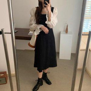 Mozuleva frauen kleider quadrat collar long-arms sanftle französisch lange patchwork sleeve weibliche mode elegant