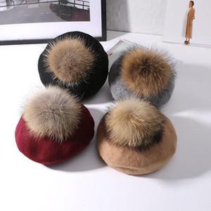 2020 VISROVER New Unisex 100% Wool Winter Beret Solid fur Pompom Autumn Hat Winter Cap Spring Punk Beret Hat Real Fur Beret Wholesale