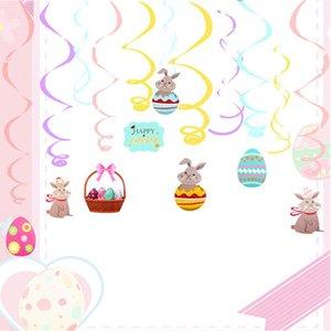 Festa Latte Banner Decoração Espiral Páscoa Banner Coelho Espiral Pingente de Ovo de Pull Patre Bandeira Festa Decoração Acessórios YHM915