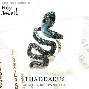 Open-end Blue Snake Pave Ring,Europe Myth Jungle Bohemia Fashion Good Jewerly For Women,2020 New Gift In 925 Sterling Silver J1202