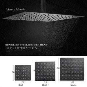 Langyo carré noir pluie en acier inoxydable Pomme de douche Ultrathin 2 mm 8 9 10 12 pouces Choix Bathroom Wall monté au plafond bbyRHm bde_luck