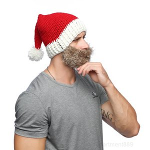 Knitted Xmas Beanies and Beard Adult Decorations Santa Claus Hat Cap With Mask For Christmas Party Gifts Favor OWB2973