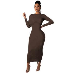 Womens One Piece платье с длинным рукавом Летняя юбка дизайнер Maxi платье высокого качества свободное платье элегантная роскошная клубная одежда Hot KLW2458
