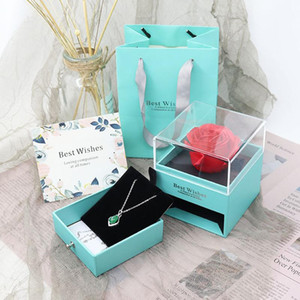 ROSE SPACE Rose Jewelry Box with Surprise 100 Language I Love You Necklace Unfade Flower Strange Gift For Mother Girlfriend Gift
