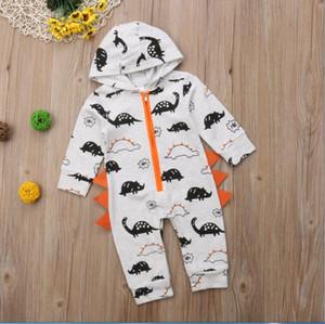 2021 Dinosauro appena nato Neonato Bambino con cappuccio con cappuccio con cappuccio Pagliaccetto con cappuccio Autunno Inverno Baby Boy Vestiti Abiti