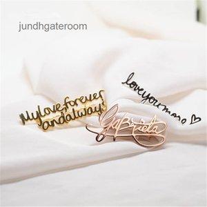 Ouro Personalizar Escrevendo Broche Empresa de Prata Signature Design Qualquer Nome Qualquer Fonte Broches Pins Etiqueta Pin Festa Jóia