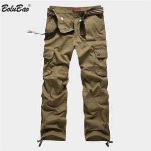 BOLUBAO New Men Cargo Pants Men Multi Pockets Pants Military Camouflage Track Pants Trousers Mens Elastic Waist Pant 201118