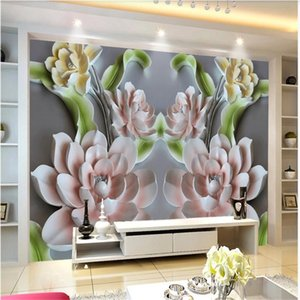 3d customized wallpaper 3D flower wallpapers embossed TV background wall living room sofa study decoration painting