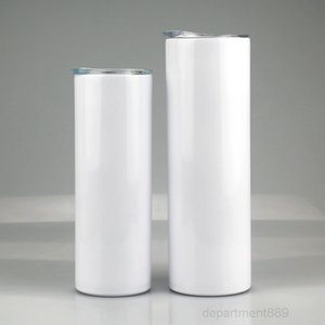 20oz 30oz Sublimation Straight Tumbler Stainless steel blank white Skinny cup with lid straw Cylinder water bottle coffee SEA OWC3603