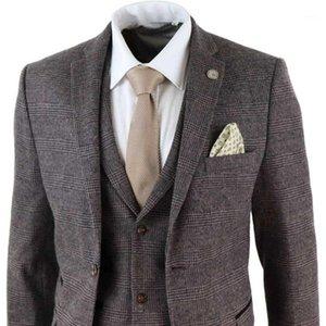 2020 Neueste braune Herrenanzüge 3 Stück Wollmischung Kostüm Homme Check Tweed Peaky Blinds Terno Masculino1