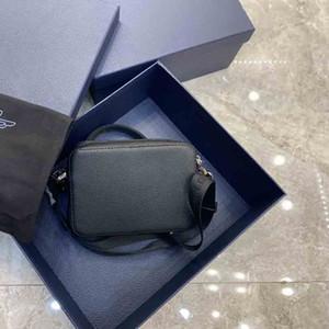 2020 latest double zipper camera bag oblique retro print pattern cowhide edging fashion shoulder bag messenger bag casual and modern