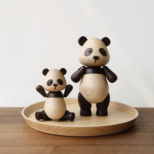 Home Decoration Cute Panda Animal Accessories Creative Handicraft Wooden Toys Office Desktop Miniatures Christmas Figurine Gift