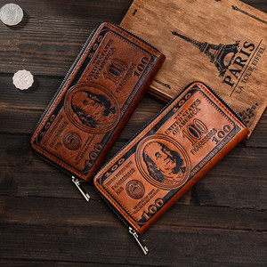 Nuovo processo di cambio dollaro retro europeo e americano, creatività individuale maschile borsa singola borsa a mano borsa a mano portafoglio con cerniera in rame