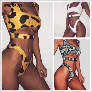 Gnim hl sexy leopardo impresión bikini traje de baño mujeres 2020 traje de baño verano ropa de baño traje de baño mujeres dos piezas biciquilibrio brasileño