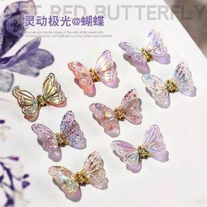 Ins Stil dreidimensionaler Schmetterling Zirkon Kleine echte Vergoldung Super glänzende Nägel Strass Ornament Nagelkunst Dekorationen