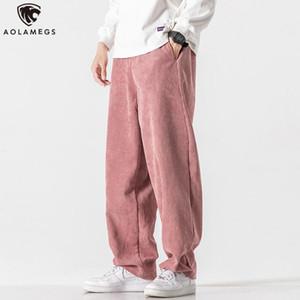 Aolamegs Winter Corduroy Pants Men Autumn Fashion Japanese Trousers Couple Casual Hong Kong Style Joggers Loose Wide Leg Pants