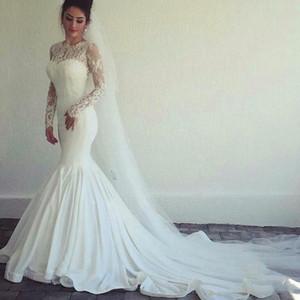 Saudi Arabic Long Sleeves Mermaid Lace Wedding Dresses 2021 with Appliques Jewel Neck Court Train Satin Bridal Gowns vestidos de novia