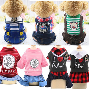Casual Pet Dog Sweater Plaid Stripe Bear Prints Doggy And Puppy Denim Clothes Apparel 4 Legs Cat Clothing College Style 12gd E19
