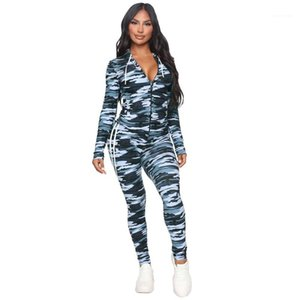 Pinted Womens Two Piece Pants Casual Cardigan Slim Tracksuit Hooded Designer Two Piece Sets Fashion Camouflage