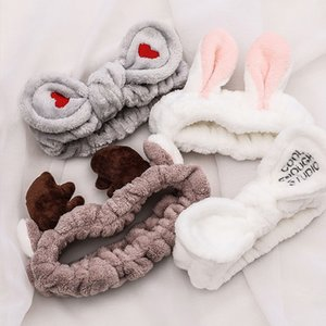 Fashion OMG Letter Head Wrap Soft Coral Fleece Bow Wash Face Bands for Women Girls Makeup Headbands Hair Accessories