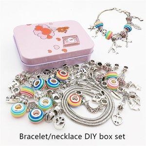 DIY bracelet neckalce box set with box set glazed bead bracelet girl gift pendants and necklace set snake bone chain