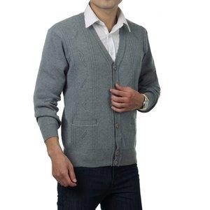 Waeolsa hommes de laine de laine cardiagn chandails cils en v-cou tops hommes de laine mélange tricotwear gris sombre gris cardigan pull Père porter printemps